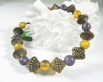 Yellow and Purple Sea Glass Bead Bracelet, Boho Chic Elegant Bracelet, Trending Womens Jewelry, Fashion Bracelet Bohemian Stacking Bracelet