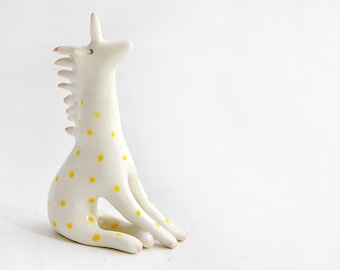Ceramic Unicorn Figure in White Clay and Decorated with Yellow Polka Dots. Ready To Ship