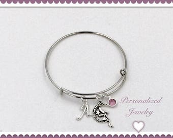 Fairy Bracelet, Silver Fairy Bangle Charm Jewelry, Personalized Birthstone Bangle Bracelet Jewelry for Women and Girls, Fairy Gift Ideas