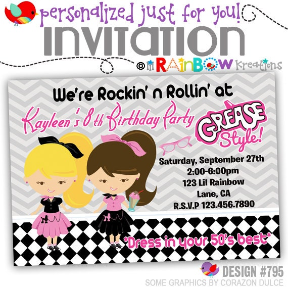 795 diy 1950s grease style party invitation or thank like this item stopboris Image collections
