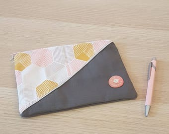 clutch purse gray zipped