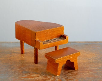 Kage Wooden Piano U0026 Bench   3/4 Inch Scale Vintage Dollhouse Furniture