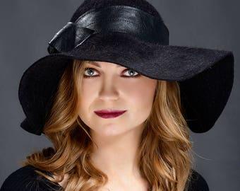 Black, charcoal wide floppy brim luxory fur felt hat for women