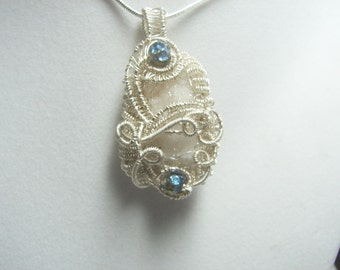 Quartz -Fairy Crystal -Druzy -Pendant- Peacock Ore Accents-Free Chain-OOAK-Sterling and Fine Silver-free SP chain