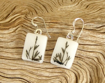Fused Glass Earrings - Black Bamboo Shoots - Fused Glass Jewelry - White Glass - Handmade Glass Jewelry - Sterling Silver Findings