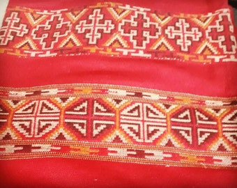 Red native tribal scarf from indian mountains, ethnic scarf