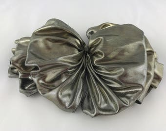 Vintage Silver Lame Hair Barrette, Vintage Hair Clip, Gold Hair Bow, Vintage Hair Accessory, Vintage French Barrette, Party Hair Clip
