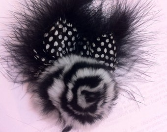 Black Marabou Guinea Feathers w/ Rabbit Fur Rosette Fascinator Anywhere Clip w/ Brooch Pin