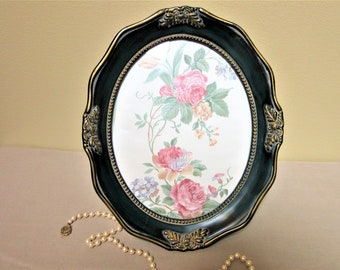 Photo Frame Oval Victorian Wall Decor Hanging Antiqued Green Gold Vintage blm