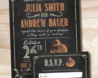 VINTAGE BLACKBOARD PUMPKIN Chalkboard Poster Wedding Invitation and Response Card Invitation Suite