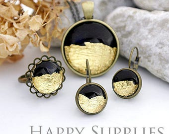 Handmade Black + Golden Foil Glass Cabochon (FG001-G)