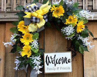 Everyday wreath, Front door wreath, yellow floral wreath,Spring wreath, Summer wreath, Mothers day, Wreath with bow, wreath with sign