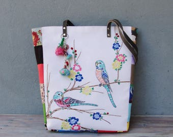 Embroidered Bird Tote Leather Buddy Birds Tote Colorful Bohemian Bag with Love Birds