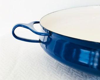Dansk Kobenstyle Cobalt Blue Paella Pan Large Enamelware Mid Century Modern Danish