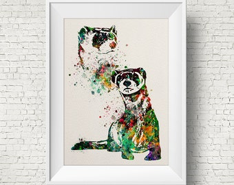 Colorful Ferret 2 Watercolor ferret painting illustration ferret Art Print Wall Gift Poster Giclee Wall Decor Home Decor Wall Hanging