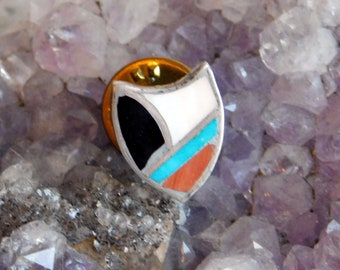 Vintage Sterling Silver Shield Pin or Tie Tac - Southwestern Style Collar Pin w/ Enamel - Aqua, Orange, Black, White Faux Stone Inlay