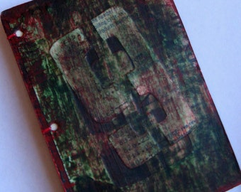 Small Book, Coptic book, mixed media, bank ephemera, vintage  papers, green and red book