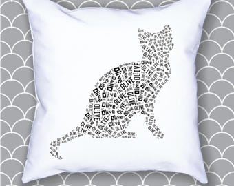 Personalized 20 x 20 Cat, Kitten Pillow Cover Cusion Room Decor