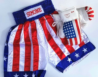 Boys boxing trunks Personalized and USA gloves/ Adult Boxing set