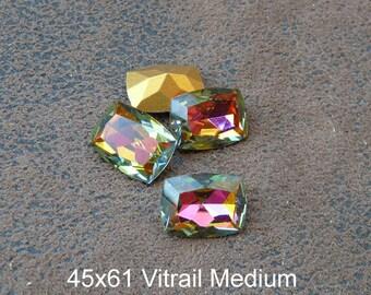 1 cabochon Crystal Austrian vintage rectangular, 2 styles