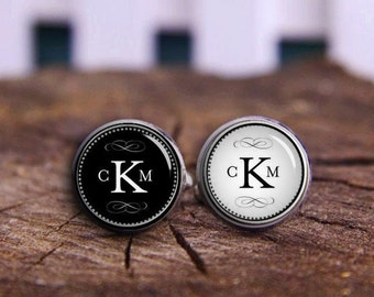Monogram Cufflinks, Customize Initials 2-3 Letters, Custom Company Name Cufflink, Custom Initial Cuflinks, Circle Monograms Font Cuff Links