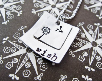 Custom Stamped Wish Necklace - Personalized Sterling Silver Jewelry - Two Layered Square Discs With Dandelion - Mom Mother Mothers Day