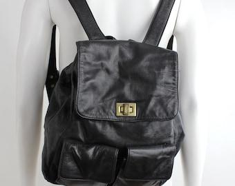 Vintage 80s DKNY Black Leather Backpack   Smooth Leather Minimalist Backpack