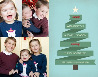 Ribbon Tree Printable 5x7 Christmas Card with Photos