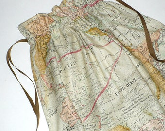 Laundry Bag, Travel, Map fabric, Lingerie, drawstring bag, reusable, cotton, Green