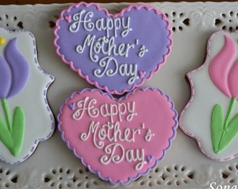 Mother's Day Cookie Gift, Tulip and Heart Cookies (1 Dozen)