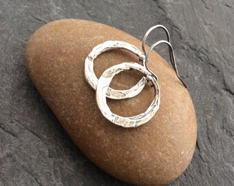 Minimalist Jewelry, Dainty hoop Earrings, Simple Earrings, Rustic Earrings, Minimalist Sterling  Silver, Sterling Silver, GIFT for her