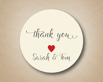 Thank You Stickers Wedding Favor Custom Wedding Labels Round Thanks Circle Favor Tags Personalized Envelope Seals Box Bag Gift Script Heart