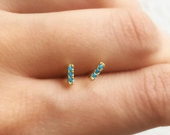 Turquoise Stud Earrings.  Dainty Turquoise Earrings. Sterling Silver Studs. Bar Earrings