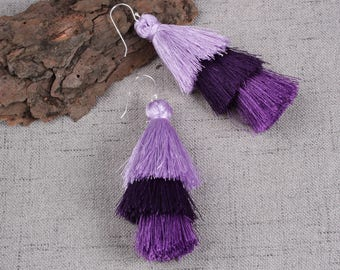 Three Layered Purple Tassel Earrings With Sterling Silver Ear Wires Dangle Earrings Long Statement Earrings