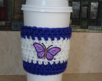 Purple and White Coffee Cup Sleeve, Crochet Cup Sleeve, Crochet Cup Cozy, Cup Cozy, Reusable Cup Sleeve, Coffee Lover Gift, Mothers Day Gift