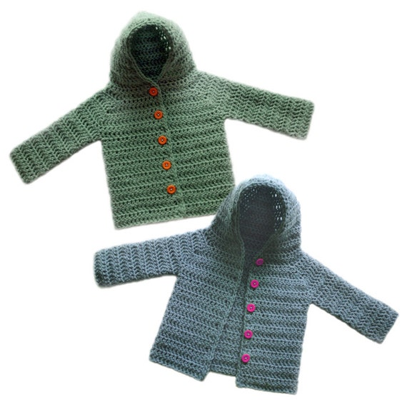 Hooded Baby Cardigan Sweater 5 Sizes Pdf Crochet Pattern