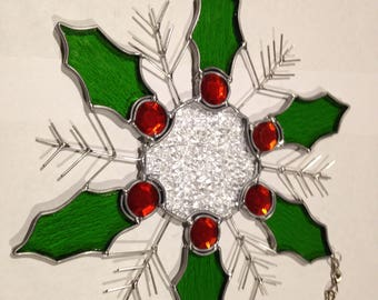 Deck The Halls stained glass Snowflake