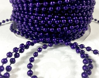 4 Yards 4mm Purple Faux Pearl Trim Bead Accent for DIY Crafting, Scrapbooking, Decorations, Party Favors, Wedding Favors, Invitations
