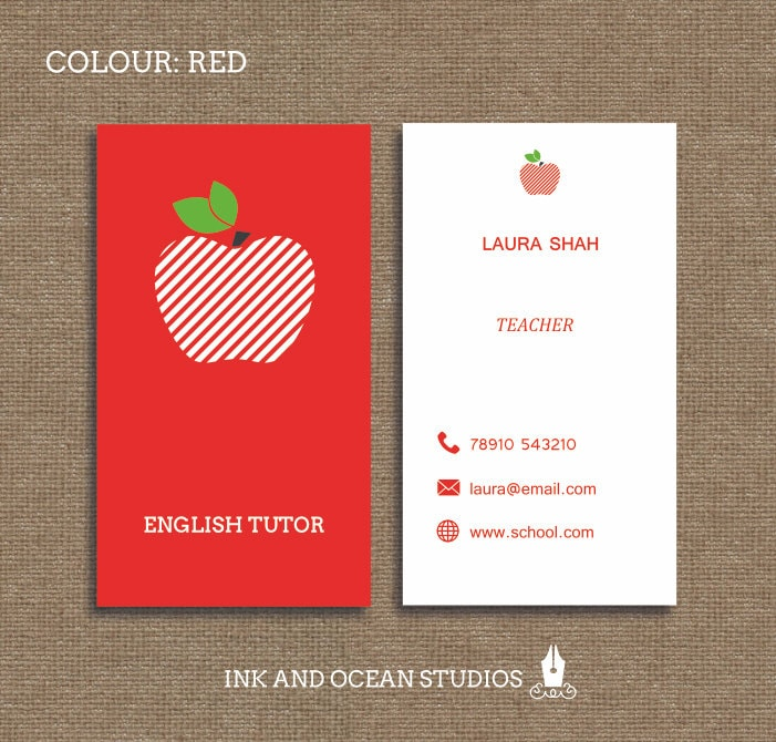 Printable Stylish Elegant Teacher Tutor Education Business - Teacher business card template