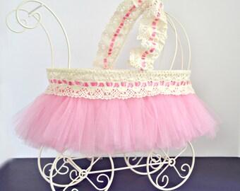 Baby Carriage, Baby Shower Centerpiece, Ivory Wire Baby Pram, Carriage Centerpiece, Wire Carriage, Baby Stroller, Nursery Decoration