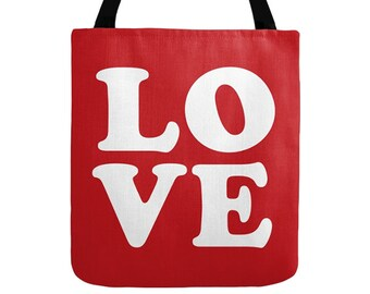 Love Tote Bag, 2 Color Options, Red and White Totes, Typography Design, Pop Art, Saint Valentine Gift, Fashion Print, Small, Medium, Large