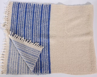 Woven blue and white runner