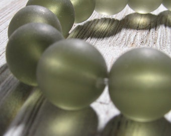 Sea Glass Beads 12mm Smooth Frosted Smoke Semi Transluscent Smooth Rounds - 10 Pieces