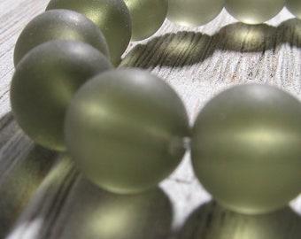 Mer, perles en verre 12mm lisse givré Semi fumée translucide lisse tours - 10 pièces