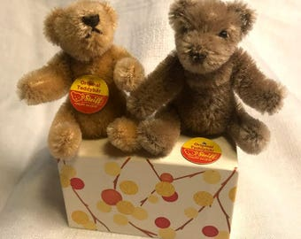 """Two 3"""" miniature Steiff teddy bears with original tags, adorable!"""