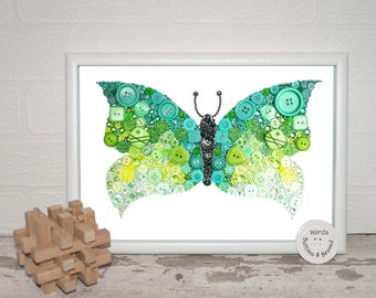 Butterfly Button Art PRINT On Satin Photo Paper. Green, Embellishments, Sparkle, Bright.