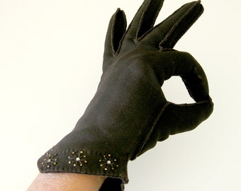 Vintage Gloves in Chocolate Brown with Rhinestone Starburst Embellished at the Cuffs / Size 6