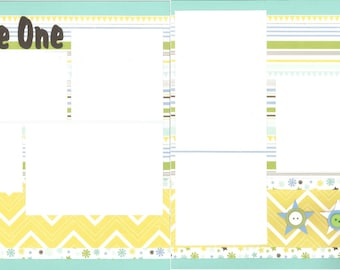 12x12 LITTLE ONE BOY scrapbook page kit, premade scrapbook, 12x12 premade scrapbook page, premade scrapbook page, 12x12 scrapbook layout