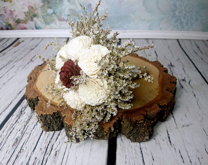 Small burgundy cedar rose ivory sola flowers rustic wedding BOUQUET dried limonium burlap Flower girl, Bridesmaids, vintage fall toss