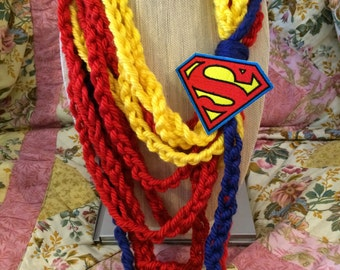 Crochet Scarf, DC Scarf, DC Comic, DC Apparel, Comics, Crochet Scarves, Crochet Scarf, Hand Crochet Scarf, Superman Scarf, Superman